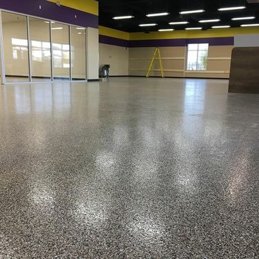 wide angle view of Epoxy on floor